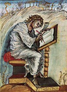St Matthew writing, Ebbo Gospels, Sutton Hoo buckle British Museum, studied in Dr. Jennifer Feltman's ARH 360.