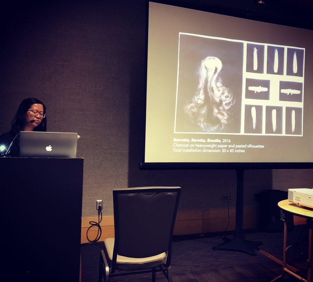 Assistant Professor Giang Pham presenting studio research at SECAC, Birmingham, 2018.