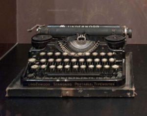 Hemingway's typewriter in Steve Soboroff's collection at the UA Gallery, DWCAC, Tuscaloosa