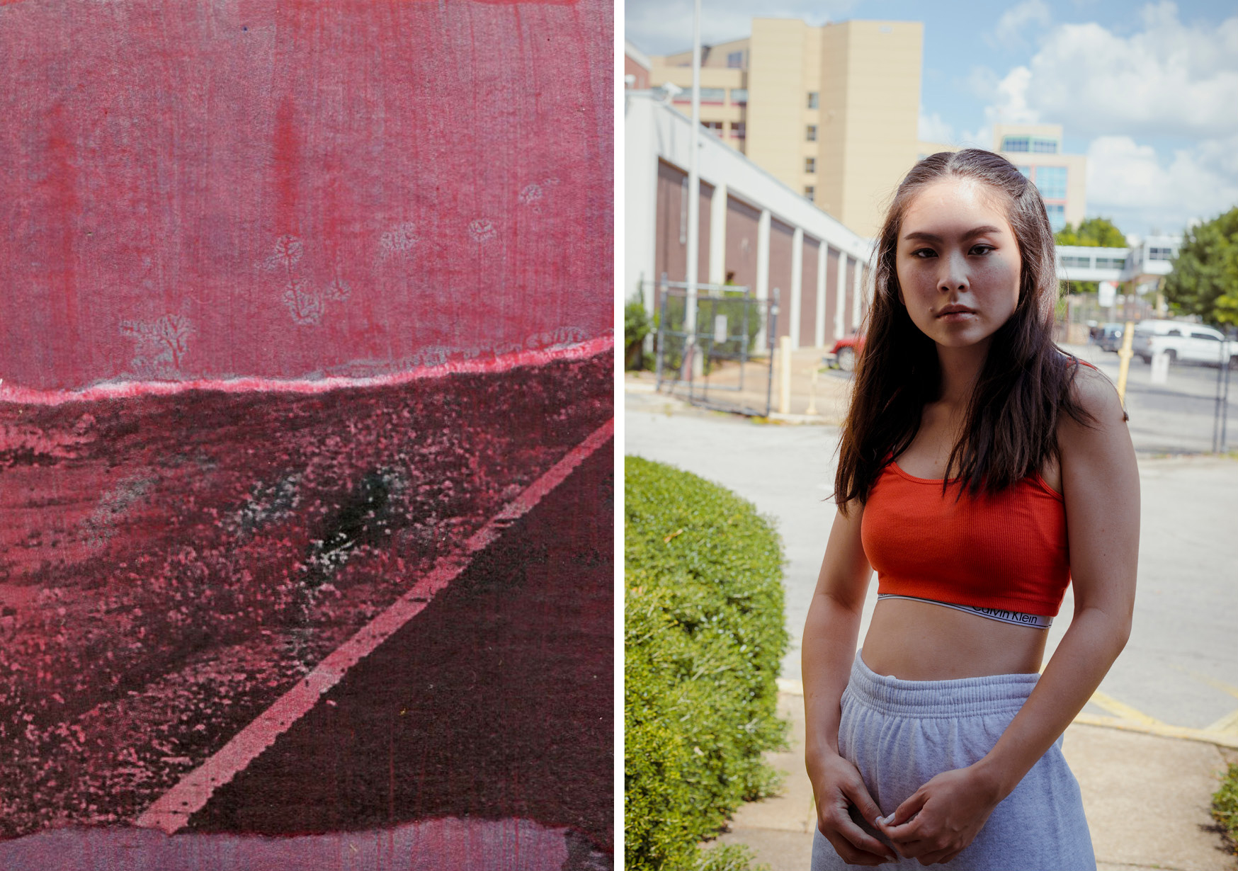"(left) Candace von Hoffman, Untitled Study 4/16, September 2018, multimedia collage, 4 x 4 inches. (right) Caroline Japal, Ana, 2018, photographic print, 30"" H x 20"" W."