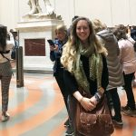 Rebecca Teague before Michelangelo's David in the Academia in Florence, May 2018, Study Abroad (detail). Photo courtesy R. Teague.