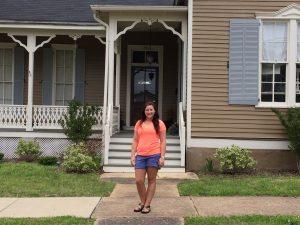 Senior art history major Mary Turney surveying historic homes in Tuscaloosa.