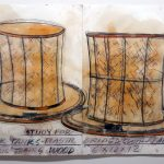 "Dennis Oppenheim, ""Study for Think Tanks,"" 1993, mixed media on paper, 50 x 76 inches (2 panels), Sarah Moody Gallery of Art Purchase Fund, P1997.08."