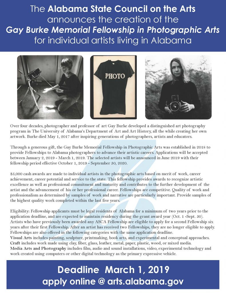 Gay Burke Memorial Fellowship in Photographic Arts Flier FY2020