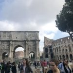 Our group leaving the Colosseum and the Arch of Constantine in Rome. Pictured, from left to right: Anna Pitts, Catie Stone, Jordan Hadley, and Tanja Jones. Photo by Rebecca Teague, Study Abroad, May 2018.