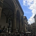 """View of the Logia dei Lanzi with Benvenuto Cellini's """"Perseus with the Head of Medusa"""" in Florence from the Palazzo Pubblico. Study Abroad, 2018. Photo courtesy of Rebecca Teague."""