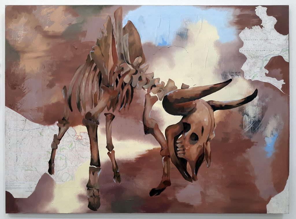 Oil painting of a cow skeleton on a map of the United States.