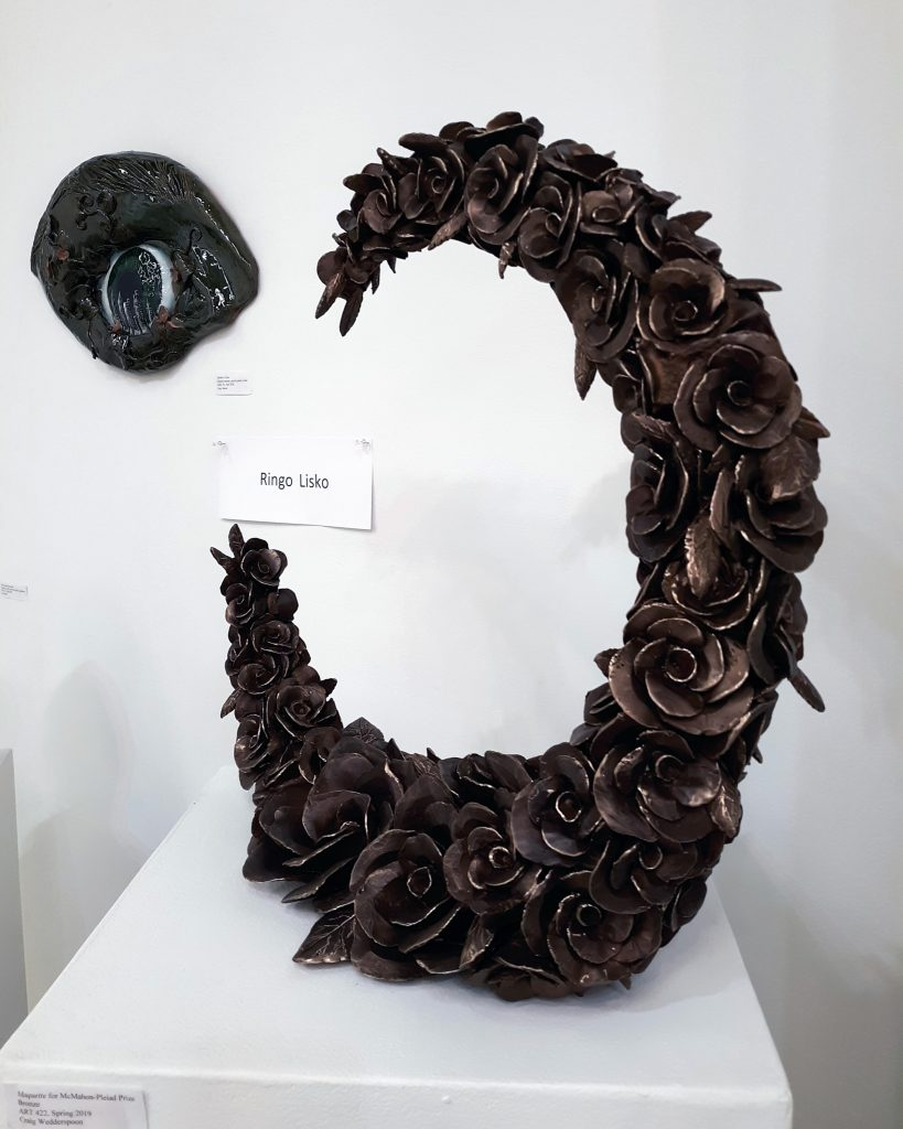 Sculpture by Susannah Lisko in the Advanced Scholarship Exhibition, 2019.