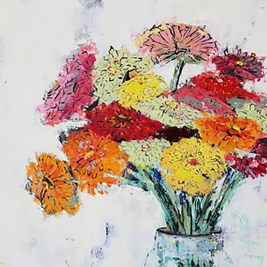 Painting of fall flowers in a vase on a white background.