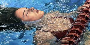"""Rachel Ann Wakefield, """"Let Go,"""" 24x48 inches, oil on canvas, 2017"""