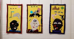 Yvonne Wells quilted hangings at The Arts Council Gallery, DWCAC