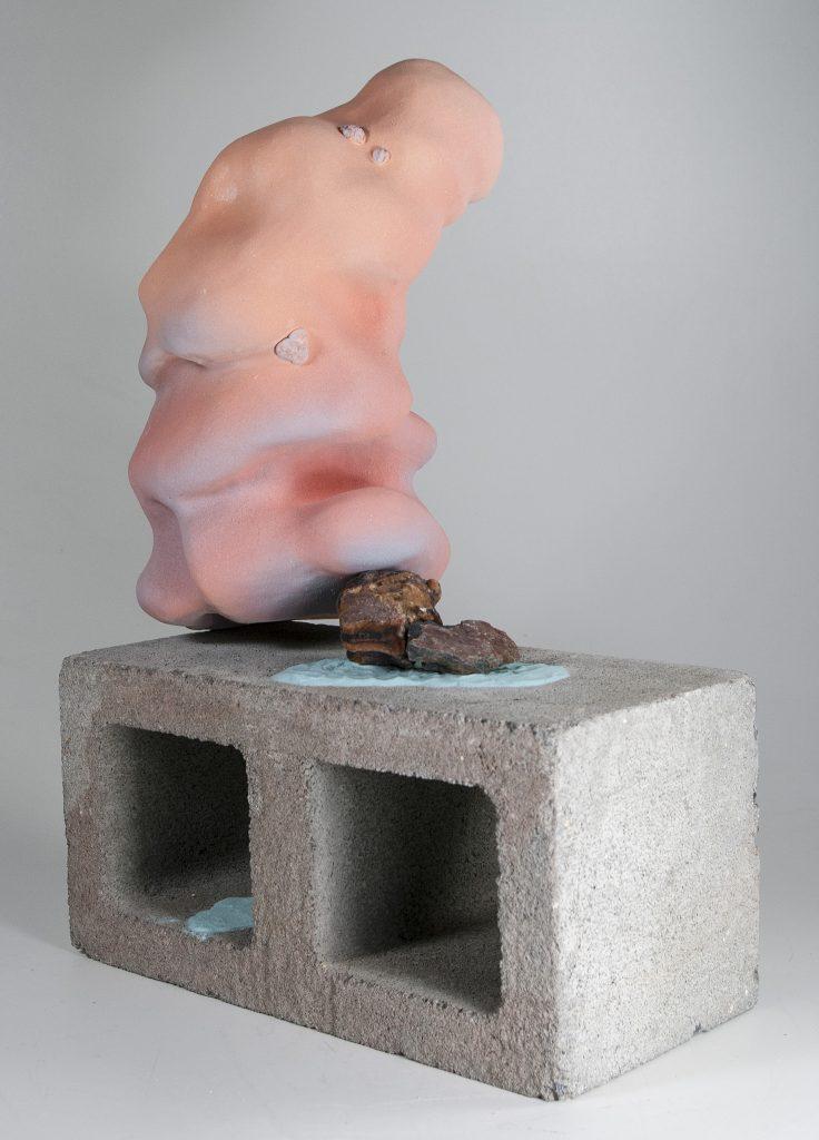 """Samantha Joslin, """"In Our Own,"""" 2018-19, Ceramic stoneware, dyed sand, found rocks, cinder block,"""" 22 x 16 x 8 inches"""