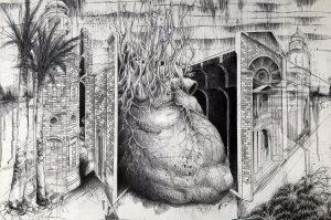 "Jason Guynes, Càdiz, 24"" X 36"", graphite on panel, 2018. Image courtesy of the artist."