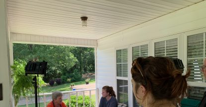 Black Belt Artist Project members visit basket weaver Betty Bain in Selma, Alabama.