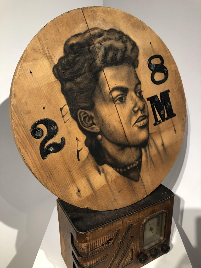 """Whitfield Lovell, """"2 8 M,"""" 2008, conte crayon on wood, radio 27 x 18 1/2 x 8 inches"""