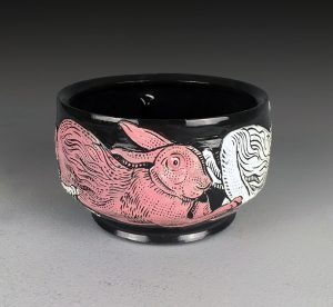 Pink and White Hare Bowl by Jamie Adams