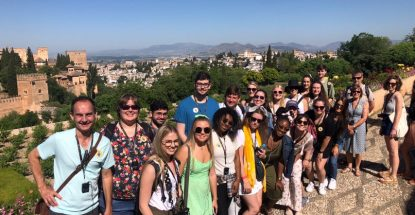 Art and Art History students and faculty congregate for group photo at the Alhambra in Granada.