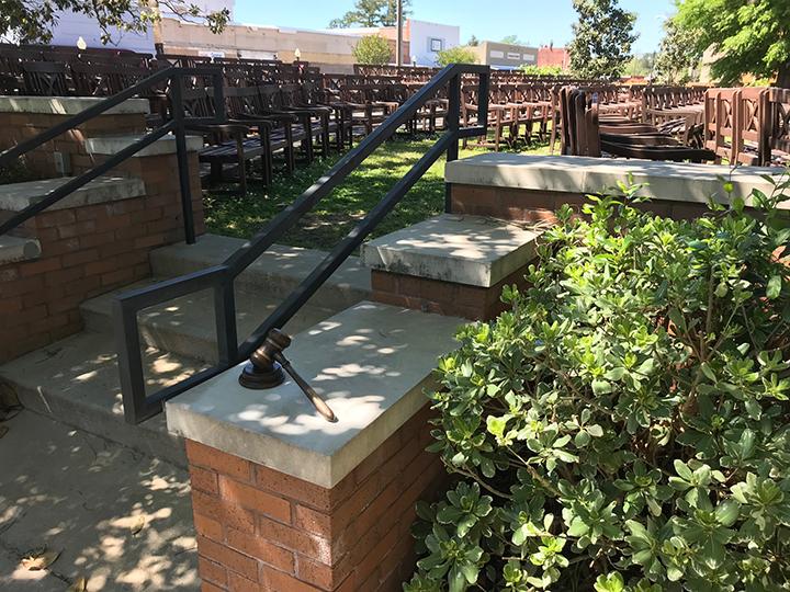Jennifer Gault's bronze sculpture of a gavel commemorates author Harper Lee in Monroeville's Literary Capital Sculpture Trail.