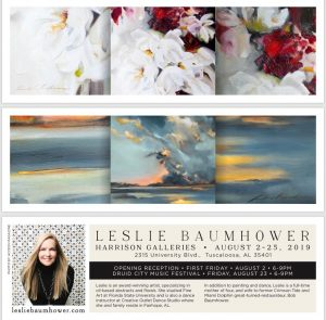 Leslie Baumhower at Harrison Galleries, August First Friday, 2019