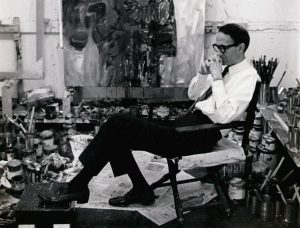 Al Sella in his studio, probably taken in 1965, Courtesy of the Sella Estate.