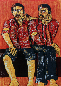 Relief print of two men by Shivam Pawar
