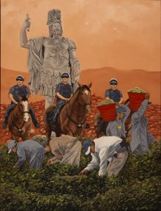painting of people picking in field while guarded by police on horseback