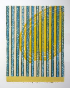 Yellow and blue painting by William T. Dooley.