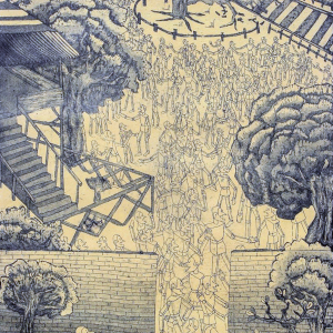 Etching of a complex landscape scene with trees, railroad crossroads, a tree across the track, and crowds of robot men.