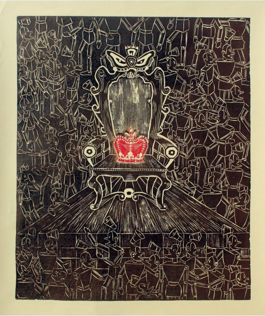 Relief print of a throne with a crown in it, surrounded by crowds of yelling robot men.