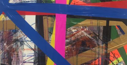 Brightly colored tape and paint in an abstract painting.
