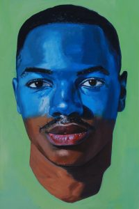 Oil painting of a young African American man's head, the top half painted blue, by William Paul Thomas.