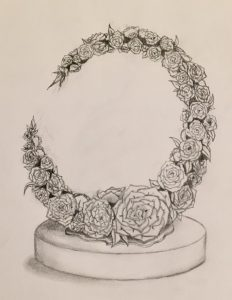 A graphite drawing of a semi-circle of camellias.