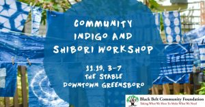 Poster for Community Indigo and Shibori Workshop, Nov. 19.