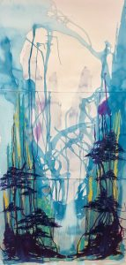 Abstract painting of a surreal landscape with paint drips throughout.