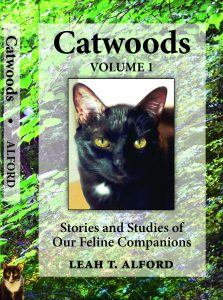 Cover of Leah Alford's book Catwoods with a black cat looking directly at viewer.