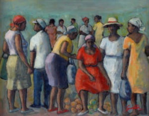 Painting of a group of African Americans standing in an outdoor farmer's market.