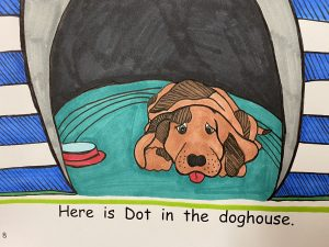 cartoon of a dog lying down in a doghouse.