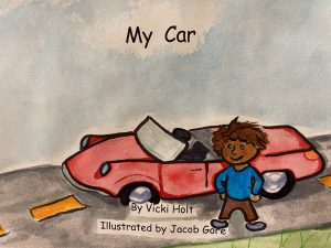 cartoon of a boy standing by a sporty red convertible.
