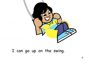 A cartoon of a child swinging in a swing.