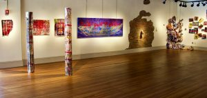 view of an abstract exhibition in an art gallery