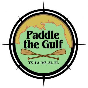 "Compass-shaped logo for ""Paddle the Gulf"" with coastal map of 5 states and two oars."
