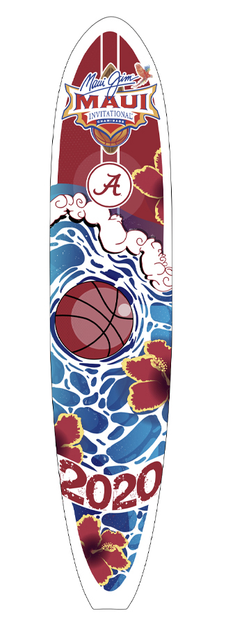 Surfboard designed with flowers, water and a basketball.