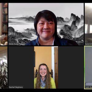 six art historians meet on the digital platform Zoom.