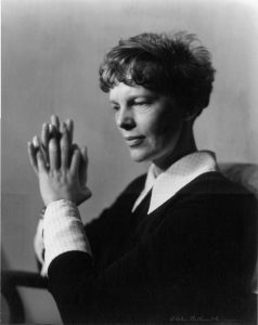 a black and white photograph of Amelia Earhart