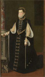 Spanish queen Elizabeth of Valois standing for her portrait.