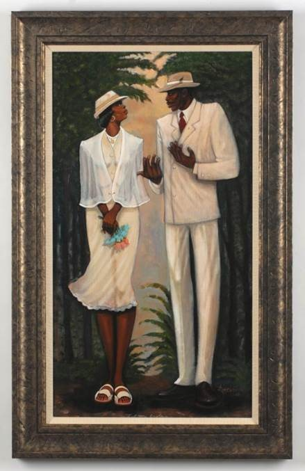 A black couple are dressed up and talking to each other.