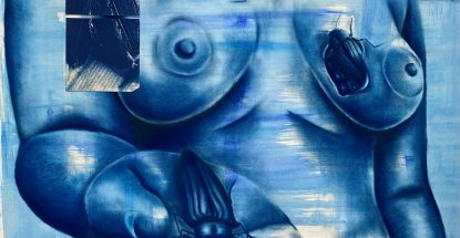 Blue female torso mixed media print by Sandra Vega