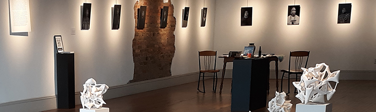 A gallery with artworks installed.